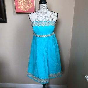 Lilly Pulitzer Turquoise Blue Strapless Dress